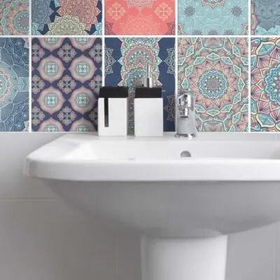 Fliesenaufkleber für Bad Deko u. Küche - Mandala Pastell