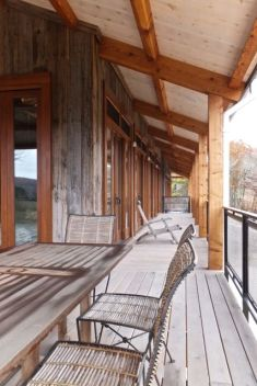 This wrap-around porch is made of white oak from the property.
