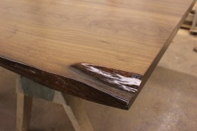 WunderWoods river recovered walnut live natural edge slab table top corner detail