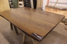 WunderWoods river recovered walnut live natural edge slab table top right