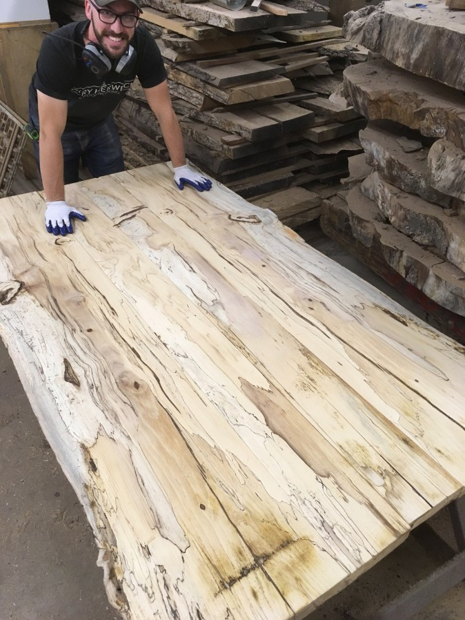 Cory spalted hickory live edge slab dining table top