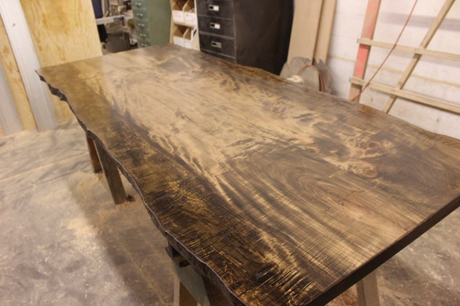 Dark stained curly maple live edge dining table top slab