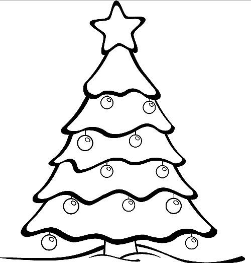 Schöner Weihnachtsbaum Malvorlage zum Ausdrucken