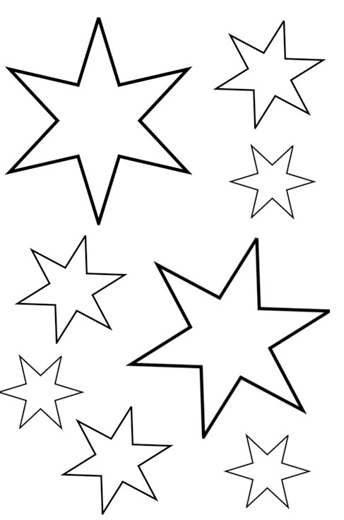 Ausmalbild Sterne als Malvorlage kostenlos gross