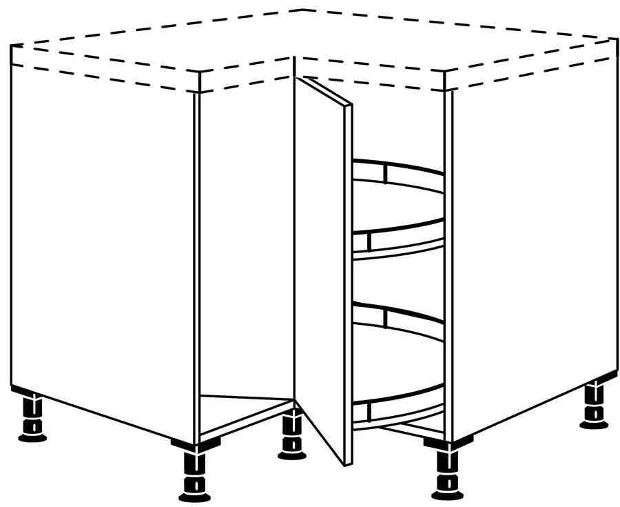 Nobilia Karusselleckschrank  2 Fronten  Drehkarussell 360°