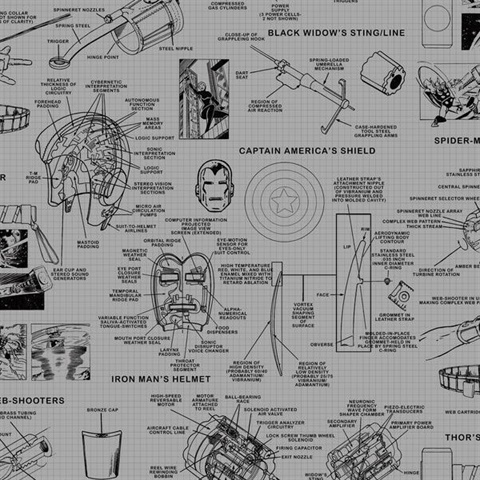 DI0936 Avengers Schematic Wallpaper for your home