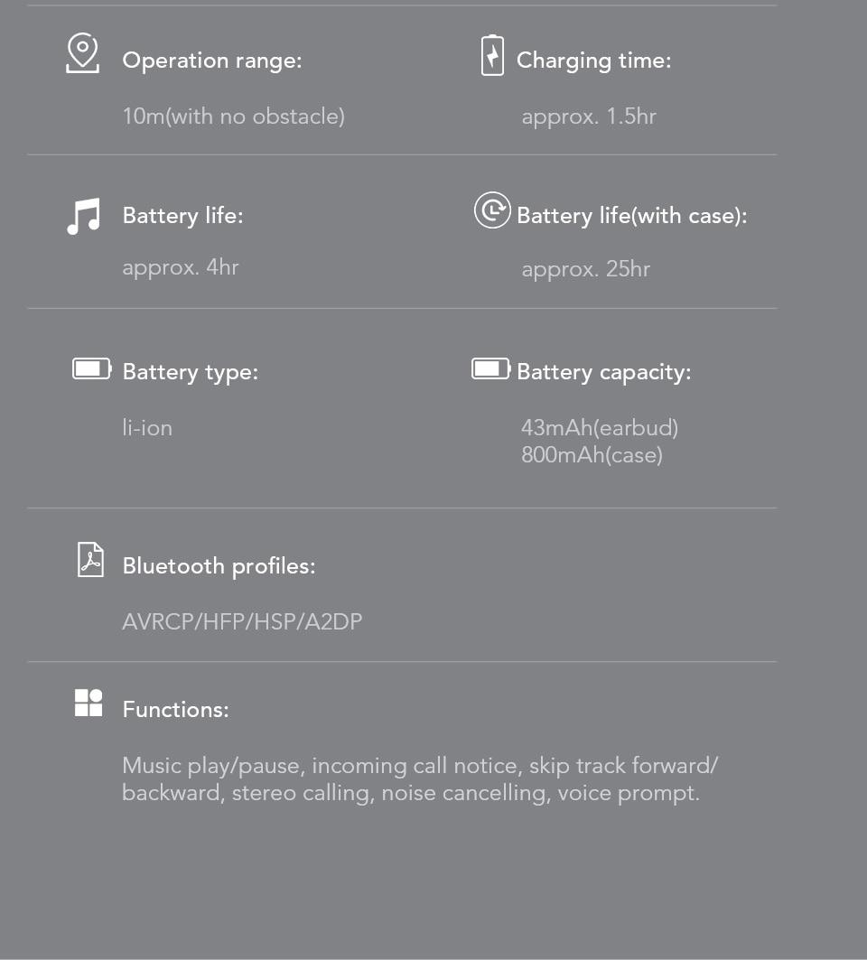 Bluetooth 5.0 Earphone IPX5 Stereo Wireless Headphones