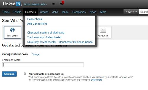 LinkedIn Contacts Screen