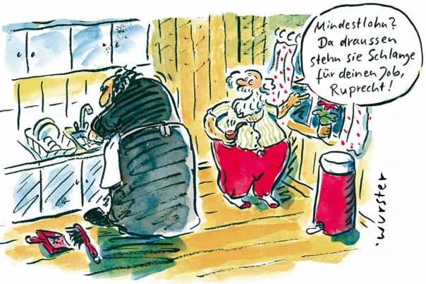 Mindestlohn Lohnuntergrenze Tricksereien Arbeitgeber Knecht Ruprecht Weihnachtsmann Santa Claus Nikolaus