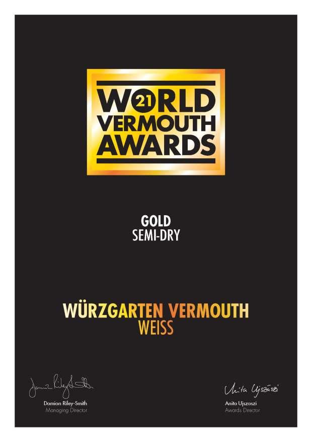World Vermouth Awards 2021 Gold
