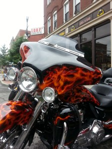 Motorcycle with flames