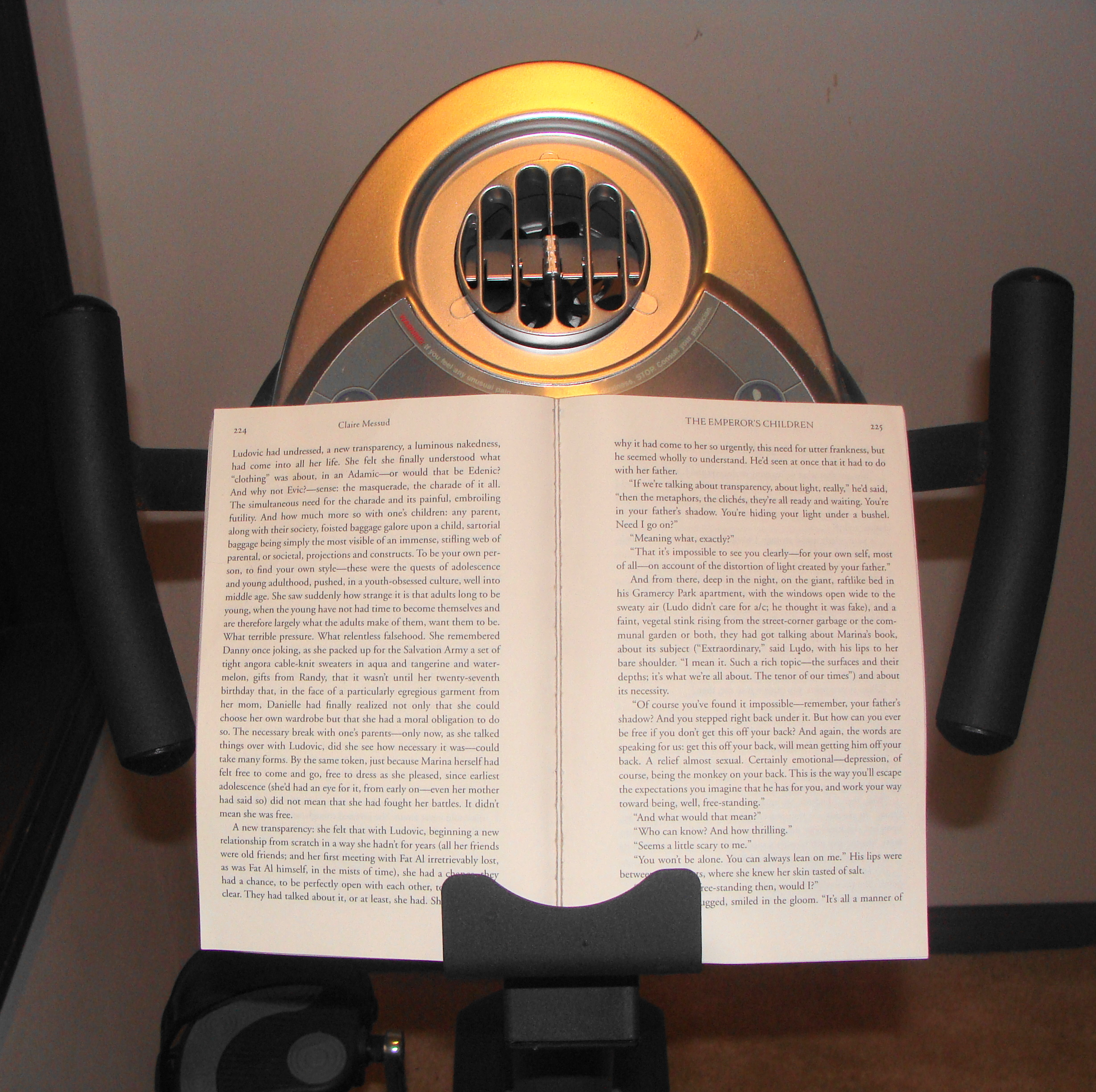 Nifty book holder and fan.