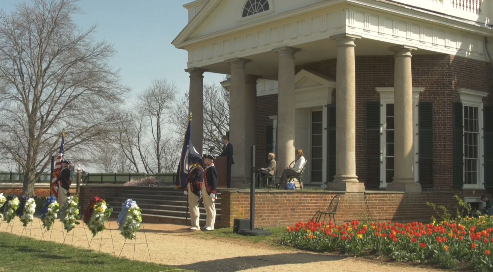 Actors dressed in American Revolution-era garb mark Thomas Jefferson's 275th birthday in a ceremony at Jefferson's home, Monticello. WVIR-TV Channel 29 image