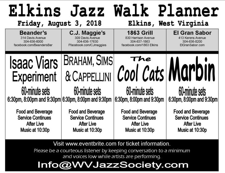 2018 ELKINS JAZZ WALK PLANNER Friday August 3