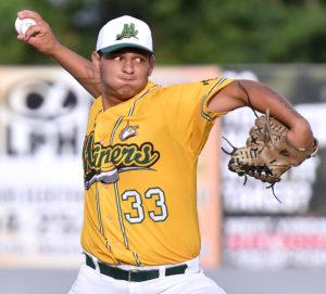 (Brad Davis/The Register-Herald) West Virginia starting pitcher Jarron Monroe delivers against Champion City Thursday night at Linda K. Epling Stadium.