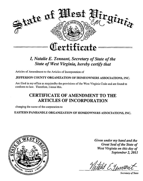 Certificate of 1st Amendment to the Articles of Incorporation