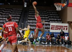 SIOUX FALLS, SD - NOVEMBER 27: Charles Bassey #23 of the Western Kentucky Hilltoppers slams home two points against West Virginia Mountaineers during the Bad Boy Mowers Crossover Classic at the Sanford Pentagon in Sioux Falls, SD. (Photo by Richard Carlson/Inertia)