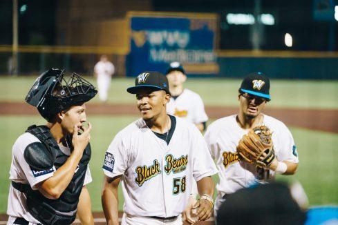 West Virginia catcher Tucker Mitchell (left) and Ga'von Wray (middle). Logan Adams/WVSN