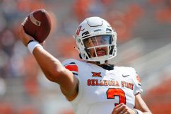 STILLWATER, OK - SEPTEMBER 26: Quarterback Spencer Sanders #3 of the Oklahoma State Cowboys throws before a game against the West Virginia Mountaineers on September 26, 2020 at Boone Pickens Stadium in Stillwater, Oklahoma. (Pool Photo by Brian Bahr/Getty Images) EDITORIAL USE ONLY *** Local Caption *** Spencer Sanders