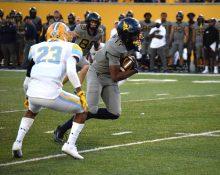 Redshirt freshman wide receiver Sam Brown gets a first down Saturday against LIU.