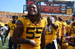 Dante Stills is all smiles after the win over Virginia Tech. (WVSN photo by Kelsie LeRose)