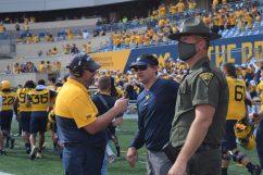 Head coach Neal Brown is interviewed following the Sept. 18 win. (WVSN photo by Kelsie LeRose)