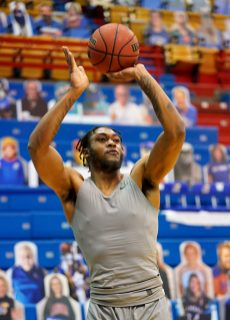 Dec 22, 2020; Lawrence, Kansas, USA; West Virginia Mountaineers forward Derek Culver (1) warms up before the game against the Kansas Jayhawks at Allen Fieldhouse. Mandatory Credit: Denny Medley-USA TODAY Sports