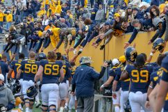 MORGANTOWN, WV - NOVEMBER 14: West Virginia Mountaineers players high-five with fans as they celebrate while singing Country Roads following the college football game between the TCU Horned Frogs and the West Virginia Mountaineers on November 14, 2020, at Mountaineer Field at Milan Puskar Stadium in Morgantown, WV. (Photo by Frank Jansky/Icon Sportswire)