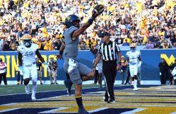 Redshirt freshman Garrett Greene scores his first collegiate touchdown Saturday against LIU.