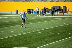 Head coach Neal Brown during a WVU Football practice on March 27, 2021 in Milan Puskar Stadium. (Duncan Slade/WVSportsNow)