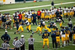 Players participate in a drill during a practice in Milan Puskar Stadium on Saturday April 17, 2021. Duncan Slade/WVSN