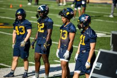 Linebackers during a WVU Football practice on March 27, 2021 in Milan Puskar Stadium. (Duncan Slade/WVSportsNow)