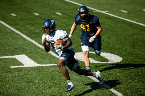 Running back A'varius Sparrow during a WVU Football practice on March 27, 2021 in Milan Puskar Stadium. (Duncan Slade/WVSportsNow)