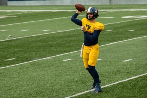 WVU quarterback Will Crowder during a practice in Milan Puskar Stadium on Saturday April 17, 2021. Duncan Slade/WVSN
