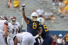 MORGANTOWN, WV - SEPTEMBER 12: West Virginia Mountaineers linebacker VanDarius Cowan (8) celebrates after making a sack during the first quarter of the college football game between the Eastern Kentucky Colonels and the West Virginia Mountaineers on September 12, 2020, at Mountaineer Field at Milan Puskar Stadium in Morgantown, WV. (Photo by Frank Jansky/Icon Sportswire)