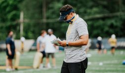 Head coach Neal Brown Credit Caleb Saunders/WVU Football