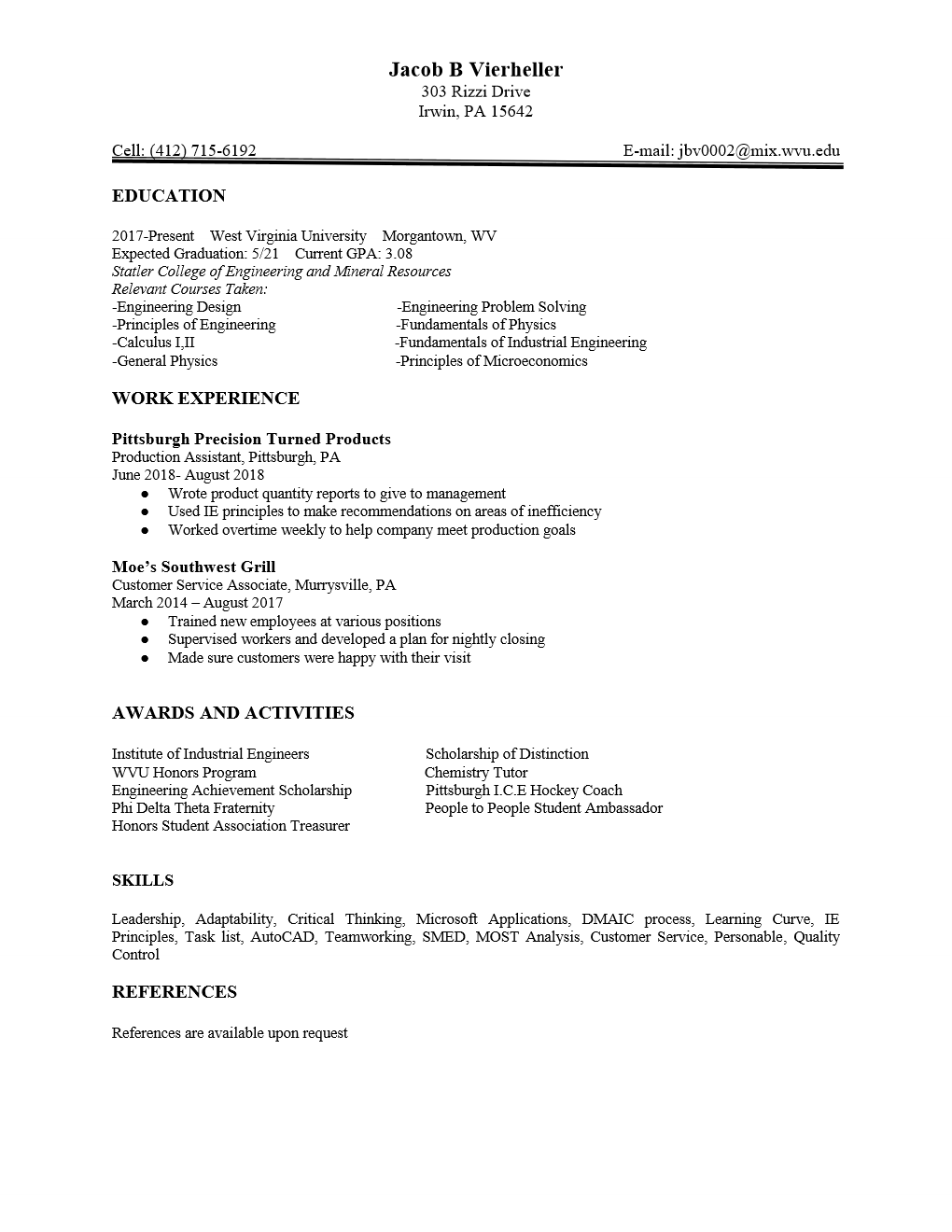 College Sophomore Resume Jacob Vierheller Wvu Ie