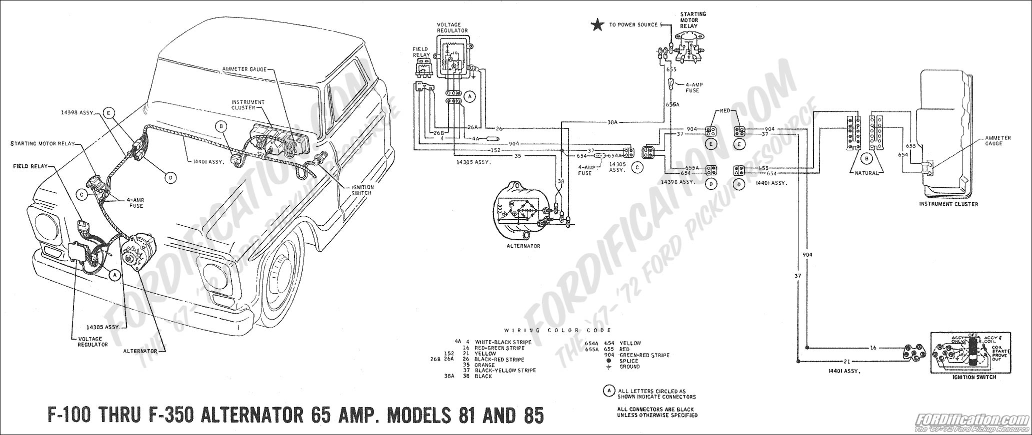 ford charging system wiring diagram single pole switch with pilot light 1976 f250