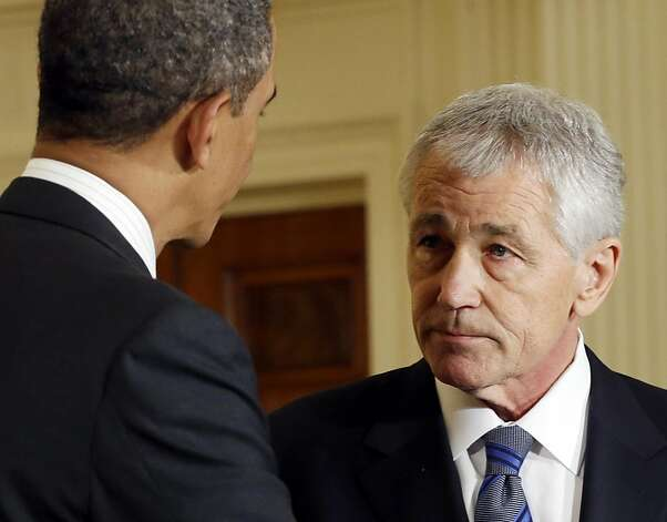 Barack Obama and the nominee for Secretary of Defense, former Senator Chuck Hagel