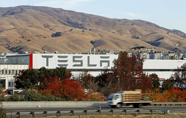 The Tesla production plant in Fremont, Ca., on Wednesday Nov. 13, 2013. Three employees were burned Wednesday in an industrial accident at the Tesla Motors plant in Fremont. The three were hurt while working with pressurized equipment, there was no fire or explosion at the plant. Photo: Michael Macor, The Chronicle