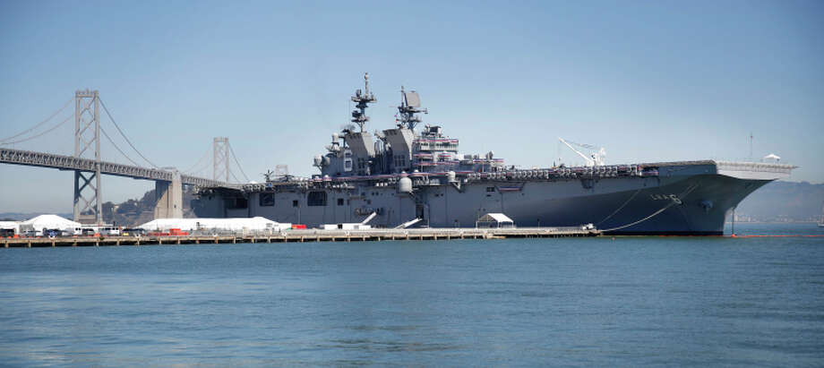 The amphibious assault ship America is seen at Piers 30/32 on Wednesday. Photo: Lea Suzuki / The Chronicle / ONLINE_YES