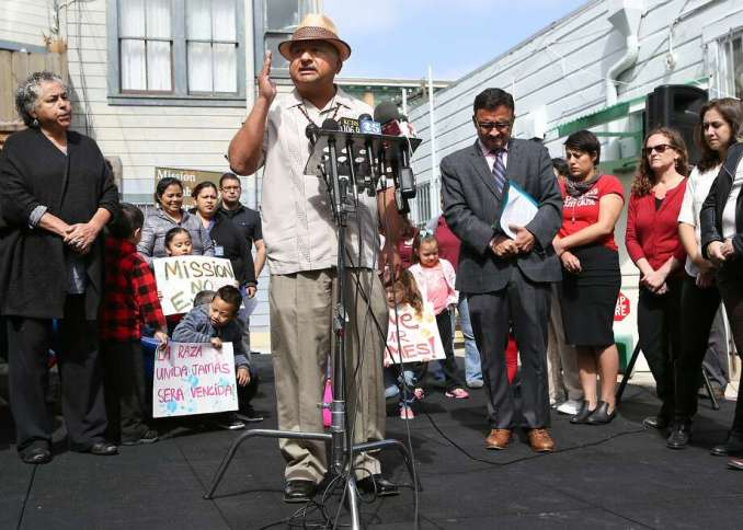 Roberto Hernandez, community leader and activist, explains why an ordinance calling for a temporary moratorium on construction of market-rate housing in the Mission in necessary on Tuesday, May 5, 2015 in San Francisco, Calif. Photo: Amy Osborne, The Chronicle