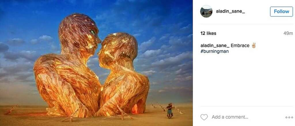 This enormous installation was later set on fire. Photo: Instagram Screenshot
