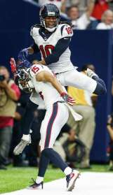 Wide receiver/tight endDeAndre Hopkins and Will Fuller combined for 10 catches, 161 yards and two touchdowns. Fuller overcame a dropped touchdown pass to catch a 19-yard touchdown pass that secured the victory.Grade: B Photo: Brett Coomer, Houston Chronicle / © 2016 Houston Chronicle