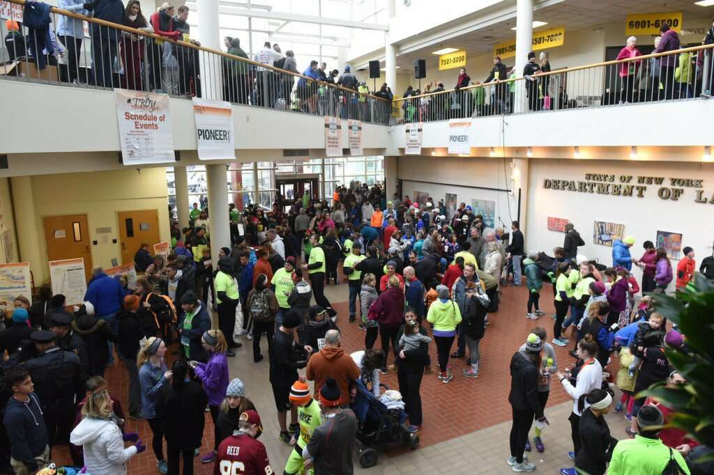 Participants gather in the Atrium for the 2016 Troy Turkey Trot in Troy, NY, on Thursday, Nov. 24, 2016. (Michael P. Farrell/Times Union)