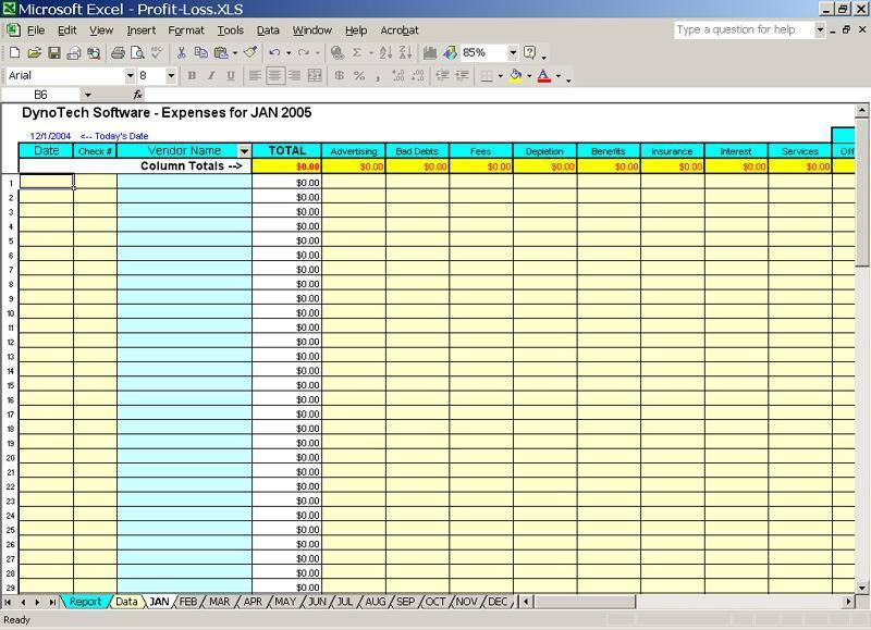 schedule c expense excel template