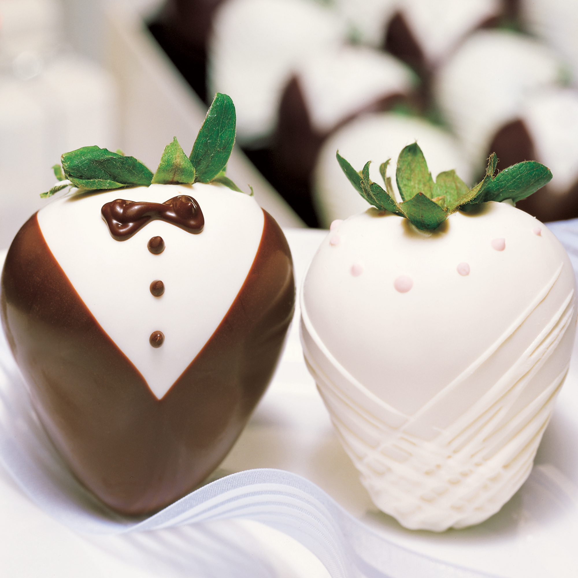 Sharis Berries Featuring Bride and Tuxedo Gourmet Strawberries  A Unique Treat for Summer Weddings