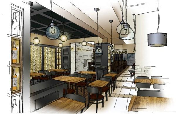 Restaurant Hand Rendering Interior Design