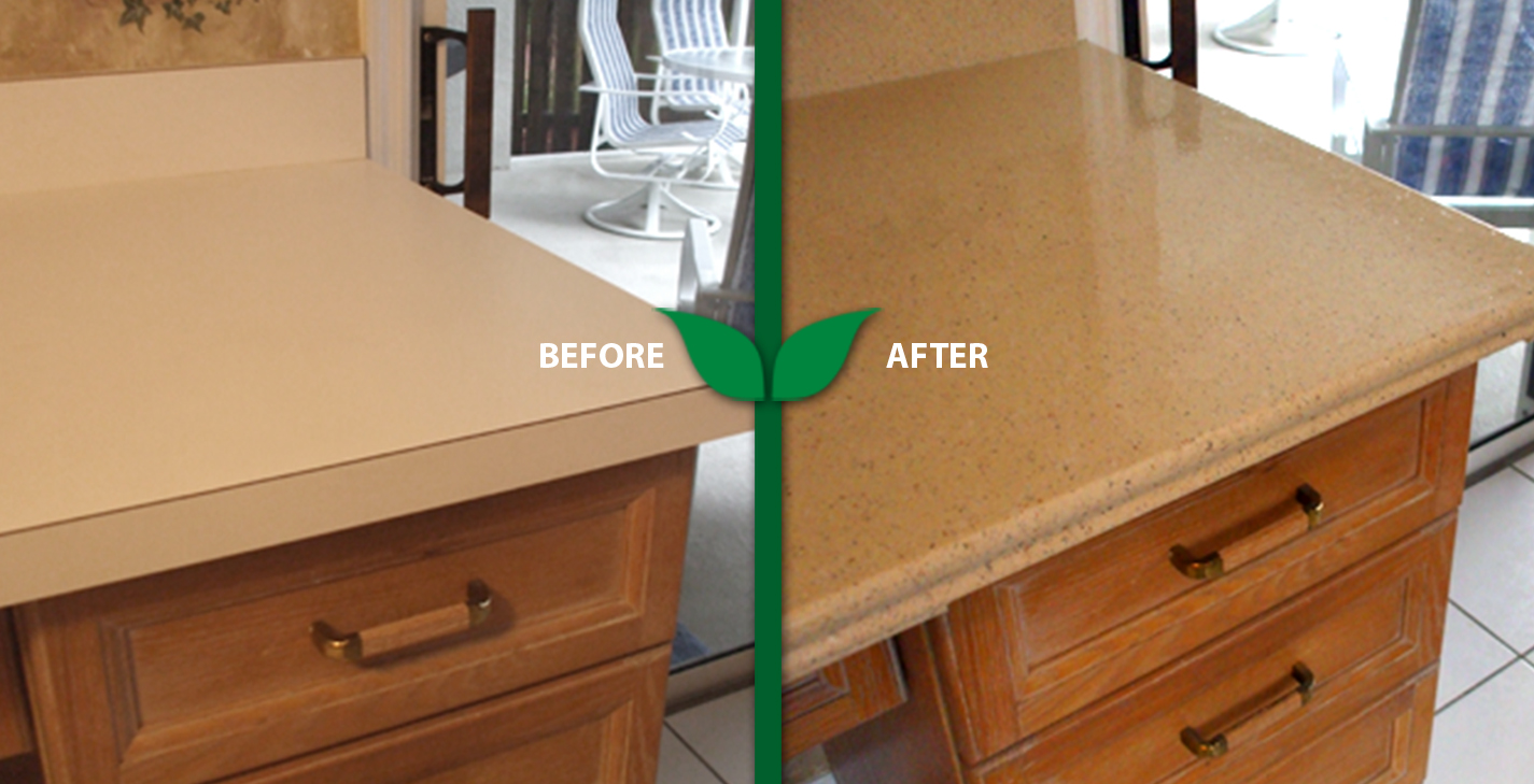 refinishing kitchen countertops how to build an outdoor counter first certified green company in tampa area refinished countertopoutdated formica countertop using ggr eco friendly reglazing process granite look pattern