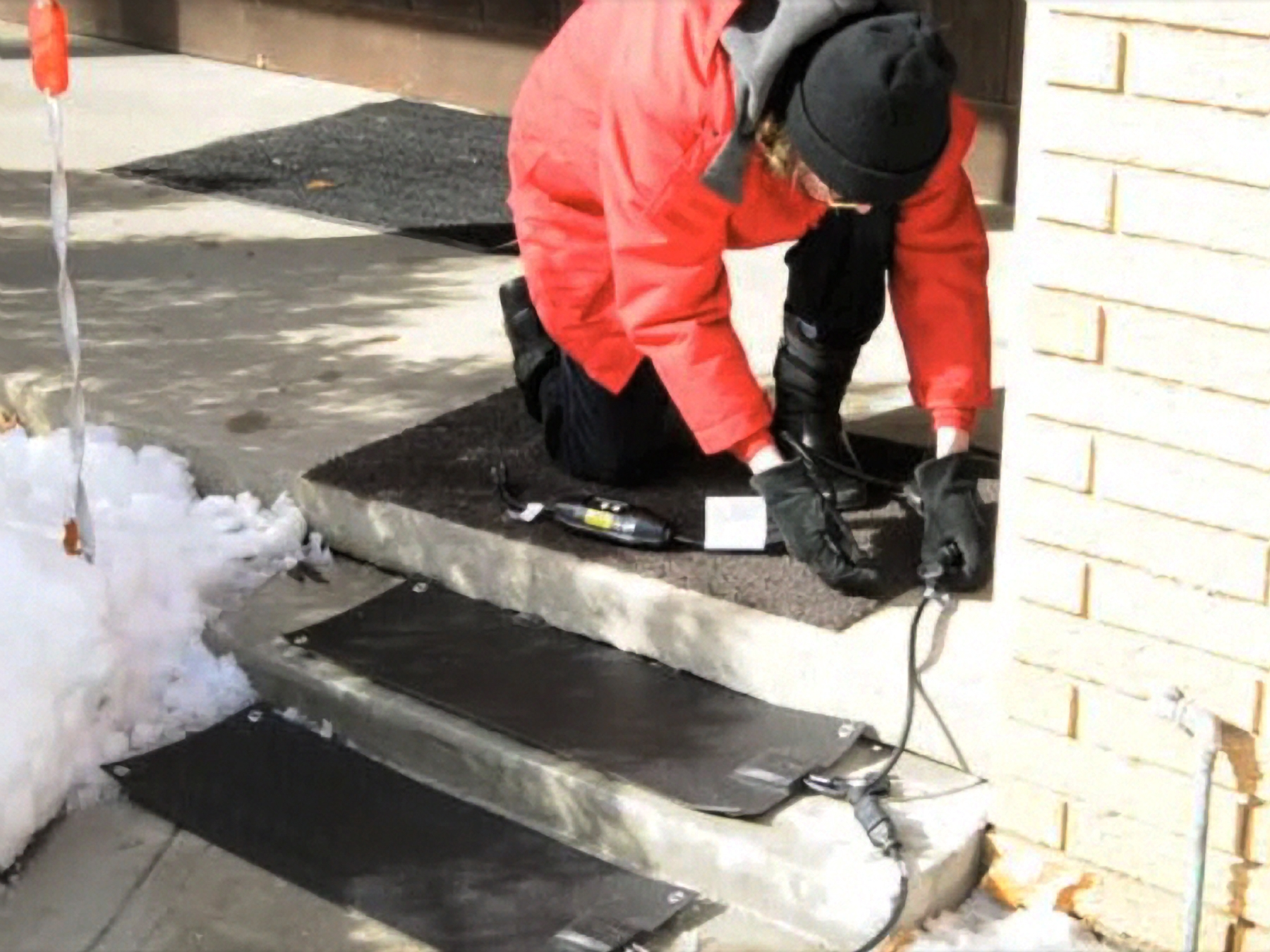 New Residential Heated Stair Tread Mats Melt Snow And Ice From   Outdoor Stair Treads For Ice And Snow   Heated   Mat   Cool Inventions   Non Slip Mats   Heattrak